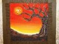 Rosso tramonto  tecnica mista su tela cm. 50 x 50
